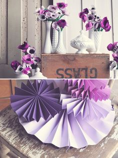 Milk Glass and Purple Paper Flowers.