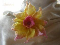 YELLOW STAR FLOWER  tender brooch and hair clip by LanAArt