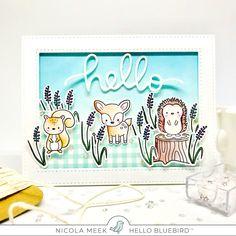 Woodland Littles - Hello Bluebird Stamps.  Card by Nicky Noo Cards #nickynoocards