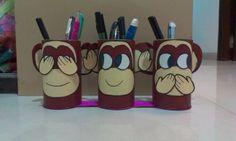 Gandhiji's 3 monkeys pen stand #DIY #DIYPenstand