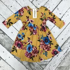 Toddler Girls Fallon Floral Dress-Yellow