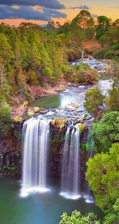 Waterfall at Sunset by -yury- via Flickr (Dangar Falls, Dorrigo NSW, Australia)