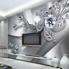 Wall Panel Wallpaper Diamond Plum Rose Pattern Background Modern Europe Art Mural for Living Room Large Painting Home Decor