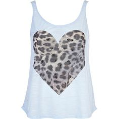 River Island Blue leopard print embellished heart vest ($15) found on Polyvore featuring tops, shirts, t-shirts, blusas, tanks, reversible vest, polyester shirt, leopard shirt, blue shirt and embellished tank