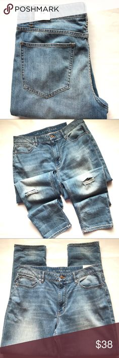 WHBM Ripped Boyfriend Jeans SZ 12 NWT New! Boyfriend fit, lighter wash distressed/ripped jeans White House Black Market Jeans Boyfriend