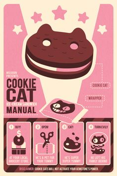 """Cookie Cat Ice Cream Sandwich Manual.  12x18"""" poster printed on 100lb silk text with full bleed. All posters are shipped in a sturdy cardboard tube and protected in a plastic sleeve."""