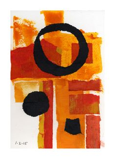 Joan Gillman Smith, Sunspots, acrylic and collage of painted paper, 8x6 in.
