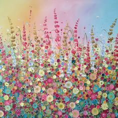 Leanne Christie Flowerscapes Art Glitter Oil Original Alliums Hydrangeas