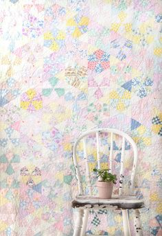 Vintage Pastel Quilt - Feedsack Fabric - Hand Stitched Quilt - Twin Size Vintage Bedding Blanket    Soft and pretty, this vintage quilt features a wide