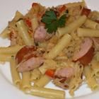 Pasta with Kielbasa and Sauerkraut-my son has to eat too