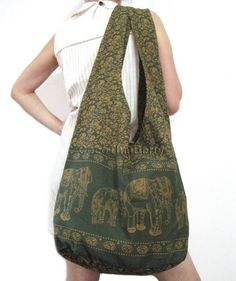Large Cheerful Hobo Hippie Sling Crossbody Slouch Bag Purse Elephant Flower Olive Green