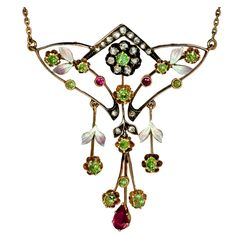 Art Nouveau Russian Demantoid Necklace  Russia  1908_1917  This elegant floral motif Art Nouveau necklace was handcrafted in Moscow between 1908 and 1917.