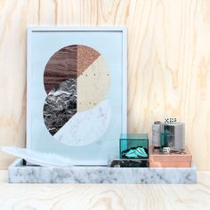 Blue Circle Print - Framed: The Beautifully designed Blue Circle Print is from a limited edition of 50 and each is made up from landscape and material surface imagery making them uber tactile.
