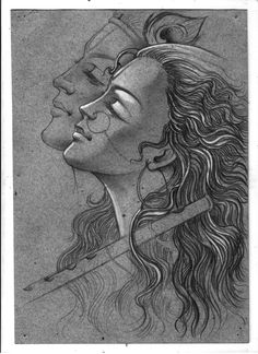ideas concept art sketches tutorials artists for 2019 Dark Art Drawings, Art Drawings Sketches Simple, Pencil Art Drawings, Sketch Art, Creative Sketches, Krishna Drawing, Krishna Painting, Lord Krishna Sketch, Radha Krishna Sketch