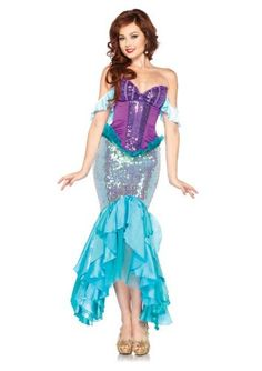 Leg Avenue Disney 3 Pc. Deluxe Ariel Includes Corset Straps and Skirt