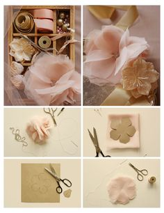 Organza flower DIY wedding craft.