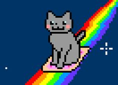 The Slide Nyan Cat is a Nyan Cat obviously but instead of wearing the poptart he's sliding on it. Nyan Cat, Pikachu Cat, Gifs, Cute Gif, Funny Cute, Hilarious, Pixel Art, My Little Pony, Cat Years