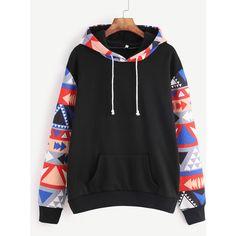 SheIn(sheinside) Black Contrast Sleeve Hooded Sweatshirt ($19) ❤ liked on Polyvore featuring tops, hoodies, black, long sleeve tops, pullover hoodies, geometric hoodie, stretch top and hooded pullover sweatshirt
