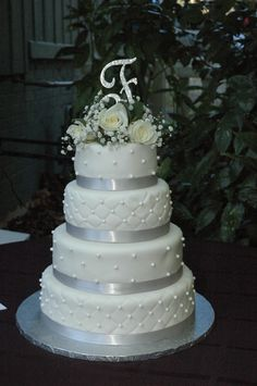 Here's the wedding cake I delivered October 26, 2013. Huge compliment from my instructor, a call from the bride already with rave reviews, and a neighbor asked if she could post to Facebook to help me with advertising. Could it get any better? Cake Creations, Compliments, Rave, Wedding Cakes, October, Advertising, Facebook, Desserts, Raves