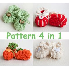 Knitting Pattern for Four Baby Booties Baby Shoes