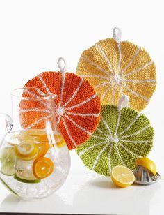 Summer Citrus Slice Dishcloth pattern available at LoveKnitting.Com