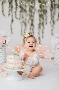 girl first birthday pictures - girl first birthday party ideas Baby Cake Smash, 1st Birthday Cake Smash, Baby Girl 1st Birthday, Smash Cakes, Cake Smash Outfit Girl, Birthday Girl Pictures, First Birthday Photos, Birthday Ideas, Birthday Sweets