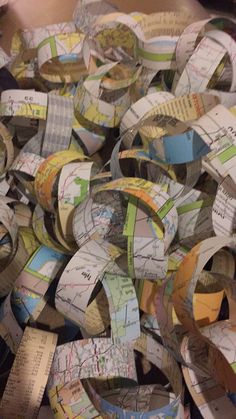 Paper chain made out of maps for our Travel themed Christmas tree