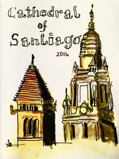 Michael Basler, Sketchbook, Ink & Watercolor, Santiago de Compostella