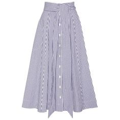 Lisa Marie Fernandez Gingham Cotton Midi Skirt ($575) ❤ liked on Polyvore featuring skirts, blue, midi skirt, cotton midi skirt, gingham skirt, mid calf skirts and blue skirt