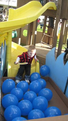 Pirate Party - Surround the slide with blue balloons and decorate playground to look like pirate ship.