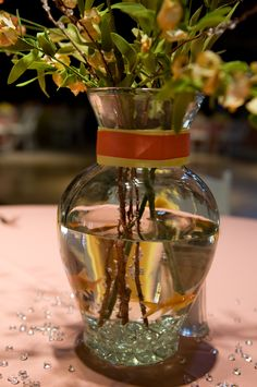 My Diy wedding center piece with gold fish (Beta fish possible?) Give away the centerpieces after.