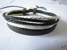 Real Leather and Multicolour Hemp Rope Cuff by sevenvsxiao on Etsy, $3.50
