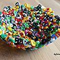 Idée déco récup : Faire un bol et des décos en plastique fondu -comment recycler les perles HAMA des enfants