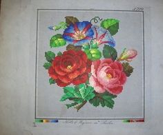 A Berlin WoolWork Floral Pattern ~ Roses & Convolvulus ~ Produced By Hertz & Wegener Berlin