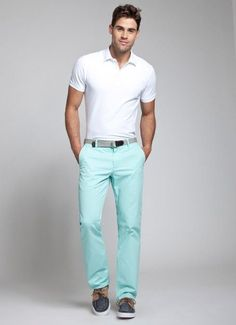 Shop this look on Lookastic:  https://lookastic.com/men/looks/white-polo-mint-chinos-navy-boat-shoes-grey-belt/11351  — White Polo  — Grey Canvas Belt  — Mint Chinos  — Navy Canvas Boat Shoes