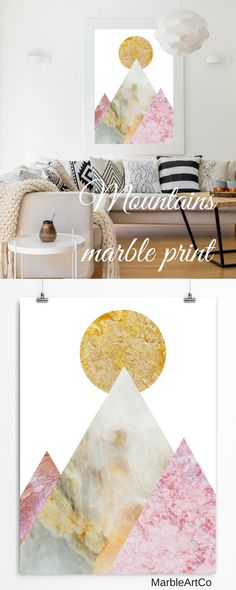 The modern collage art prints with the abstract mountain landscape is created using beautiful marble textures to show the beauty and diversity of nature. Bright print is perfect for any modern interior. Check out on MarbleArtCo | Modern Artwork, Mountains Wall Art, Gold Marble Poster, Office Wall Art, Nordic Art, Bedroom Decor, Framed Print