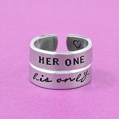 HER ONE his only  Hand Stamped Aluminum Cuff Rings Set Couples Gift Valentines Day Gift Personalized Font ** Visit the image link more details. Note:It is affiliate link to Amazon.