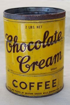 vintage Chocolate Cream brand coffee can, mustard yellow metal can w/ great advertising graphics