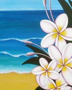 "Frangipani Seascape - 8""x10"" Print of my Original Paintings by ArtByAstrid on Etsy"