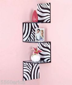 Zebra Corner Wall Shelves Zigzag Wooden Shelf Animal Print Wall Decor for my room! Zebra Print Bedroom, Safari Bedroom, Cheetah Bedroom, Zebra Bedding, Zebra Bedrooms, Zebra Nursery, Zebra Curtains, Animal Print Decor, Animal Prints
