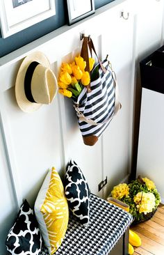Spring decor ideas in navy and yellow. Homes decorated for Spring with yellow tulips and roses. Includes links to 30 homes decorated for Spring. Living Room Floor Plans, Living Room Flooring, Spring Home, Autumn Home, Home Decor Inspiration, Decor Ideas, Diy Ideas, Room Ideas, Driven By Decor