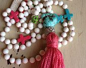 Items similar to Hot pink white gemstone hand knotted boho glam colorful skull cross neon handmade tassel long necklace by MarleeLovesRoxy on Etsy