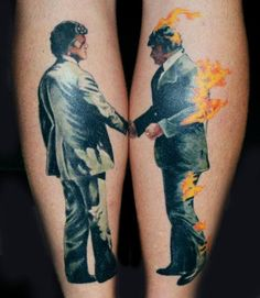 Awesome tattoo! Pink Floyd Wish You Were Here album cover.