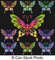 conjunto de vectores coloridas mariposas - Fine colección de ...