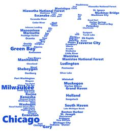 Lake Michigan in Words (Michigan, Us States) Hiawatha National Forest, Torch Lake, Mackinaw City, Mackinac Bridge, United States Map, Lake Michigan, Words, Maps, Oc