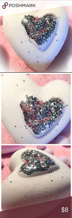 Organic XL Raised Glitter Heart 7-Scents 7-7.5oz This beautiful Effervesces Bath Bomb states LOVE & will put a smile on any lucky person receiving it! Indulge in the bubbling, hydrating colorful relaxing spa experience. Infused with Organic Essential and Avocado oils. Choose between Lavender, Patchouli, Rose', Tea Tree, Eucalyptus/Menthol, Cinnamon Blast, or Vanilla Chamomile. Approx 7-7.5oz each. If you would like a specific color please inbox me at checkout otherwise it will arrive…