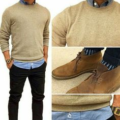 Trui | blouse | fitted jeans | camel desert boot | najaarskleding | suede schoenen | mannen | fashion | men fall