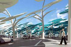 Células fotovoltaicas que fornecem energia para carregar as baterias dos automóveis estacionados.