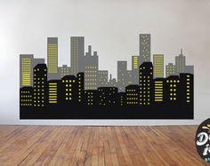 City Skyline, Superhero Spider man Theme Wall Decal - city skyline wall decal - kids room wall decal - Cityscape wall decal, ETS50106