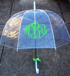A monogrammed umbrella is perfect to brighten a rainy day! Personalized with name, monogram, or initial in your choice of vinyl color and font.
